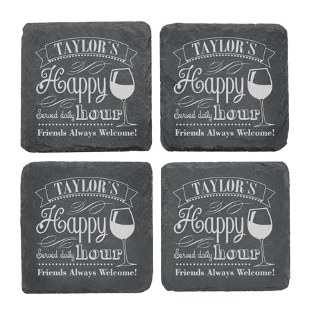 Personalized Happy Hour Slate Coasters - Single Name - Personalized Photo Coasters