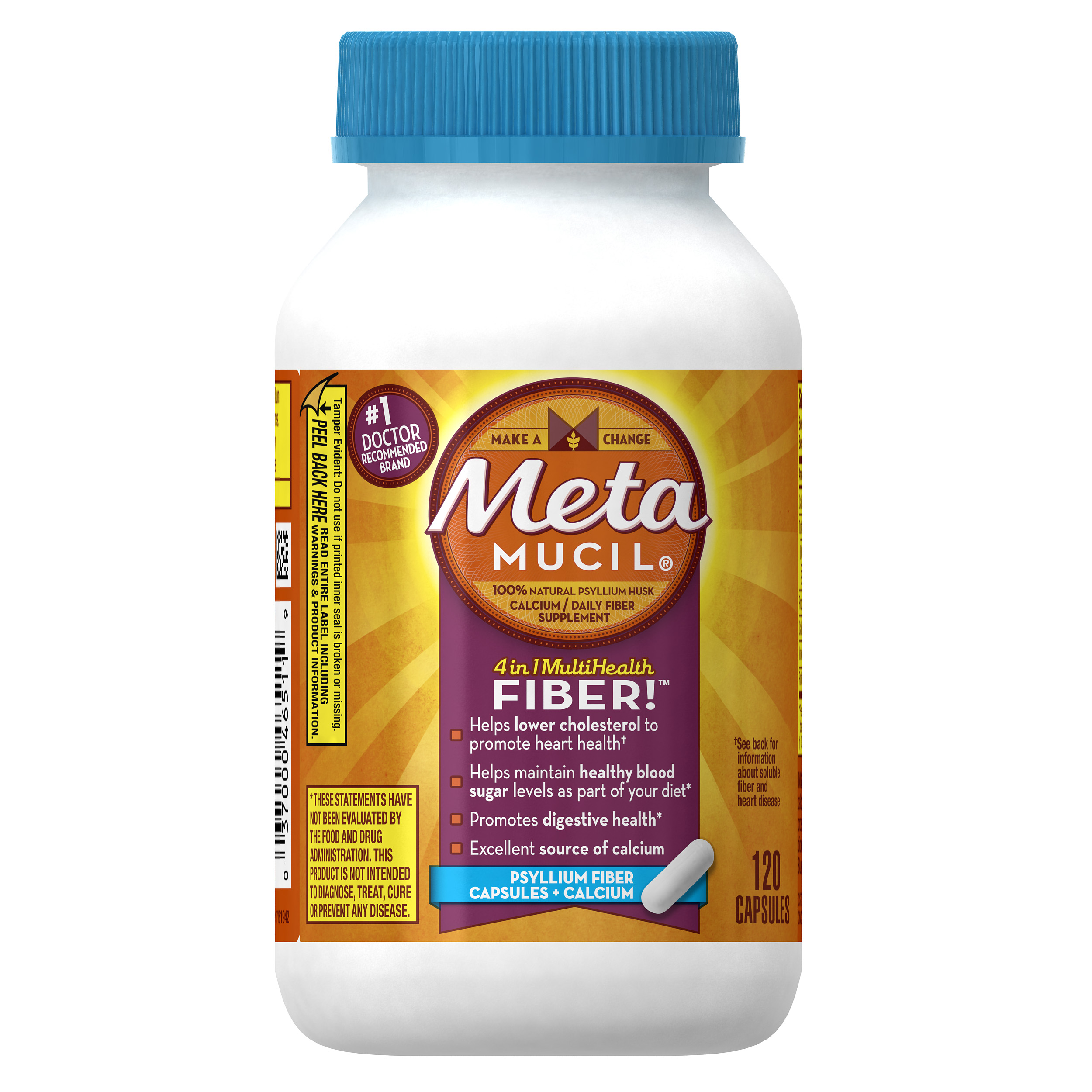Metamucil Multi-Health Psyllium Fiber Supplement Capsules With Calcium, 120 ct