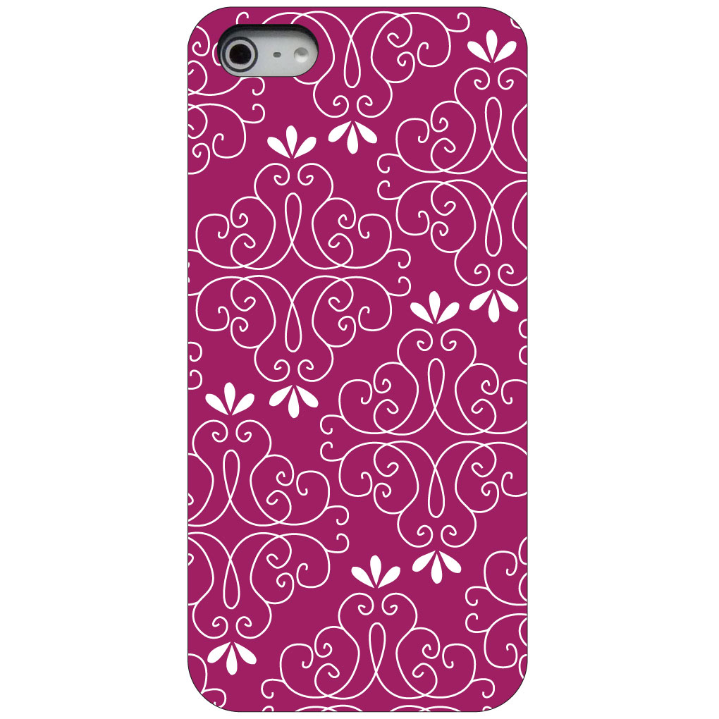 CUSTOM Black Hard Plastic Snap-On Case for Apple iPhone 5 / 5S / SE - Dark Fuchsia White Floral