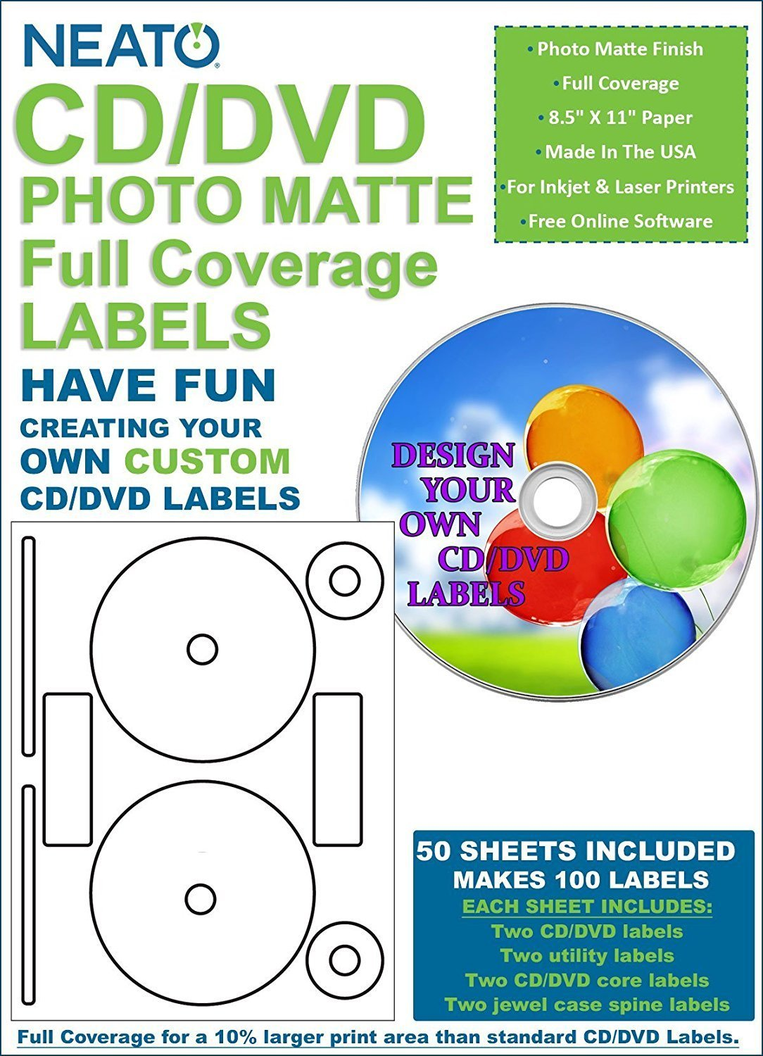 Cd Dvd Photomatte Full Coverage Labels 50 Sheets Makes 100 Labels Online Design Software Included High Quality Labels The Neato Cd Dvd By Neato Walmart Com Walmart Com