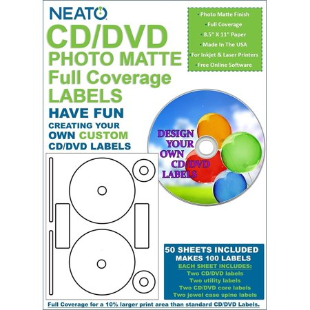 CD/DVD PhotoMatte Full Coverage Labels - 50 Sheets - Makes 100 Labels - Online Design Software Included, HIGH QUALITY LABELS: The Neato CD/DVD.., By Neato Feel free to contact us if you need further information or have any question, we will be more than happy to assist you. The  CD/DVD PhotoMatte Full Coverage labels include everything you need to make your own custom disc labels. They feature a photo matte finish, perfect for both inkjet and laser printers and they provide full disc coverage with a 10% lager print area than standard disc labels. With  Labels, you can customize everything in your life. All you need is a printer and a computer and you can make anything from your own beer to wedding and party favors. Impress your guests or celebrate a friends birthday, even make your own mix tape. The customization is endless with  labels. Get a registration code complimentary with any purchase of labels or inserts. This software will help you design  Labels, Cell Phone Skins, Inserts, Beer Labels, and Wine Labels. It comes with templates for Avery, CD, Stomper, and Memorex discs labels, as well. Simple and fun to use, youll never use another labeling software again. Dont be limited by graphic programs or what you can do with your hand. Because the  labels and software are designed together, there is no figuring out sticker sizes and software settings, leaving you more time and brain power to spend on your designing. When youre creating labels, the only limitation is the end of your imagination. Package contains (1)  CD/DVD PhotoMatte Full Coverage Labels 50 Sheets  Makes 100 Labels. Each sheet includes (2) CD/DVD labels with 15mm center hole, (2) utility labels, (2) CD/DVD Core Labels, and (2) Jewel Case Spine Labels. Each sheet measures 8.5 x 11 total. Includes free access code to s Online Design Software. Made in the USA. Hihg quality products and best service.