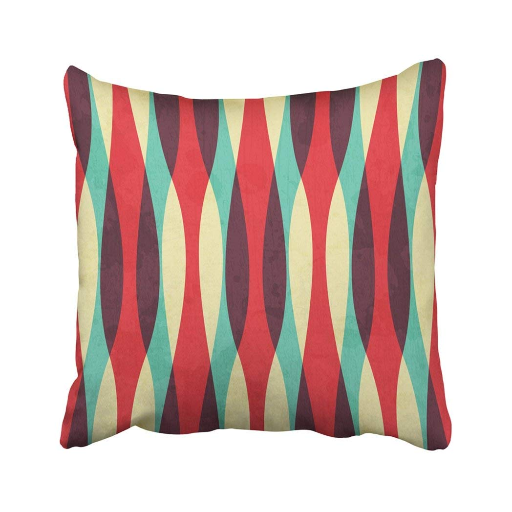 BPBOP Red Vintage Retro Curves With Grunge Effect Yellow Geometric Swirl Hipster Abstract Line Pillowcase Throw Pillow Cover Case 18x18 inches