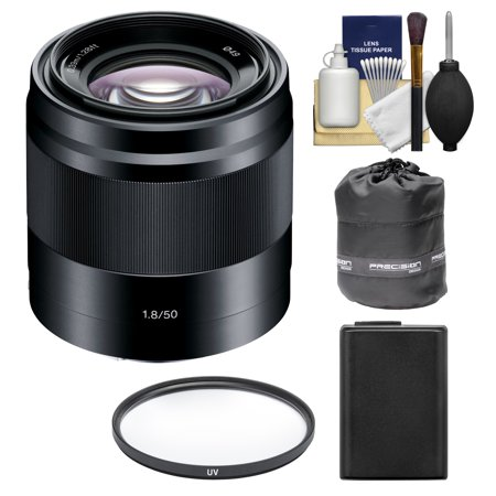 Sony Alpha NEX E-Mount 50mm f/1.8 OSS Lens (Black) with NP-FW50 Battery + Filter + Pouch + Kit for A7, A7R, A7S Mark II, A5100, A6000, A6300 (Best Lenses For Sony Nex Cameras)