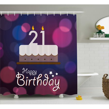 21st Birthday Decorations Shower Curtain Happy Quote With Stars On Abstract Pink Toned Image