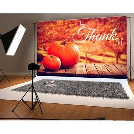 GreenDecor Polyester Fabric 7x5ft Photography Backdrop Thanksgiving Brown Stripe Wood Floor Autumn Pumpkin Fall Trees Scene Photo Background Children Baby Adults Portraits Backdrop (Scene Backdrops)