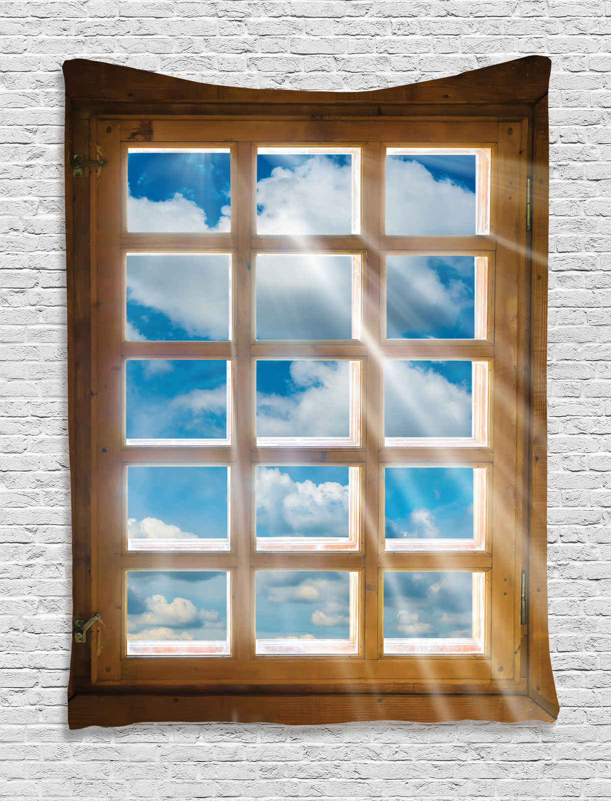 House Decor Wall Hanging Tapestry, Wooden Window With Sunbeams Shining From  View Of Sky And
