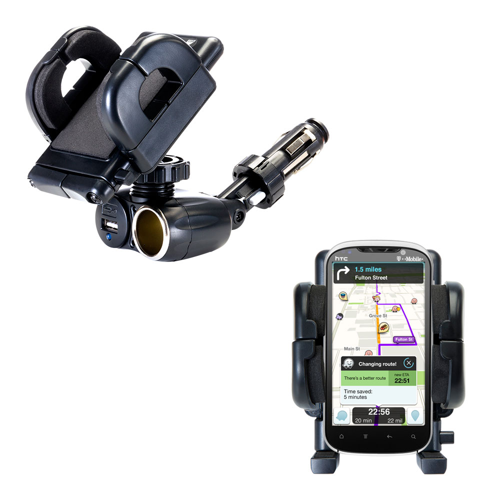 Dual USB / 12V Charger Car Cigarette Lighter Mount and Holder for the HTC Ruby