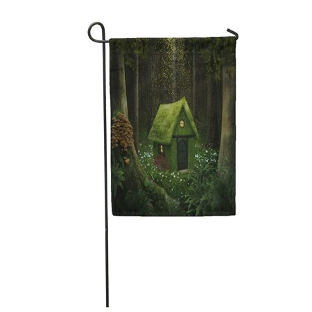 Moss Cottage - SIDONKU Fantasy Little House of Moss in Enchanted Forest Cottage Garden Flag Decorative Flag House Banner 12x18 inch