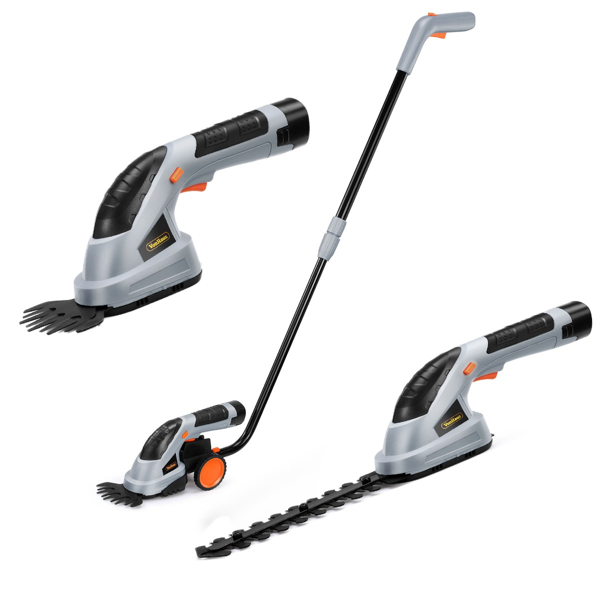 VonHaus 3-in-1 Cordless Grass Shears / Hedge Trimmer - Handheld & Wheeled Extension Handle