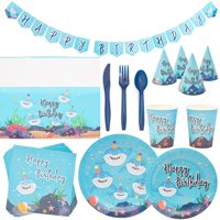 Serves 24 Shark Ocean Sea Theme Birthday Party Supplies, 194PCS Plates Napkins Cups, Favors Decorations Disposable Paper Tableware Kit Set for Boys Girls Kids