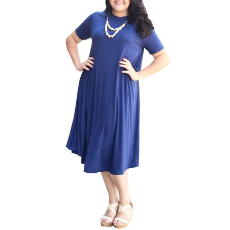 Dellytop - Short Sleeve Casual Loose Solid Color Plus Size ...