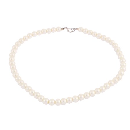 Wedding Faux Round Pearl Beaded Linked Necklace Off White 45cm Length (Off White Pearl)