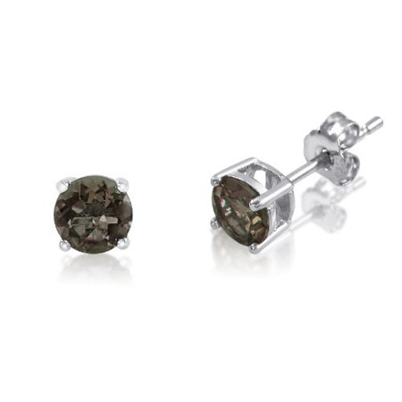 Genuine 4mm Brilliant Round Cut Smokey Quartz Rhodium Plated Sterling Silver Basket Setting Stud Earrings Cushion Smokey Quartz Earring