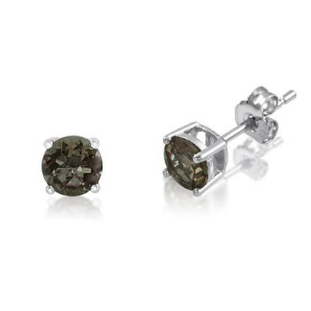 Genuine 4mm Brilliant Round Cut Smokey Quartz Rhodium Plated Sterling Silver Basket Setting Stud Earrings