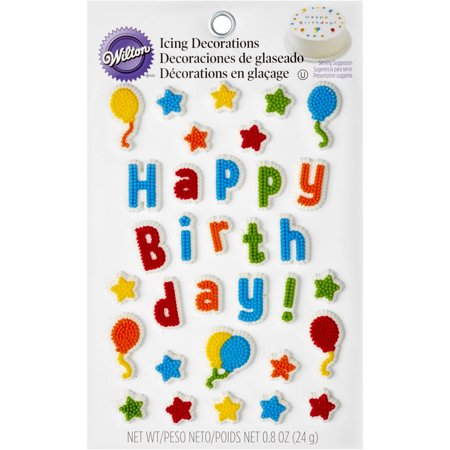 Wilton Hy Birthday Icing Decorations 33 Count