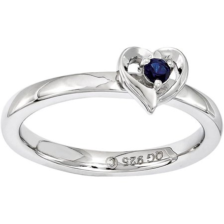 Stackable Expressions Created Sapphire Sterling Silver Heart Ring - Blue Lantern Ring For Sale