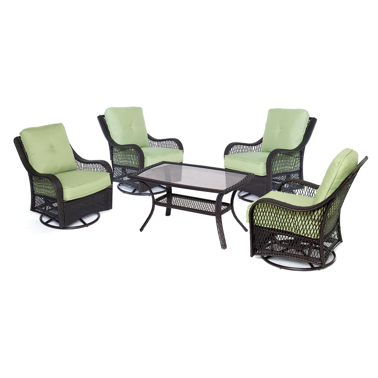 Hanover Outdoor Orleans 5-Piece Woven Patio Chat Set