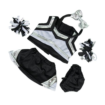 Metallic Silver & Black Cheerleader Outfit Fits Most 8