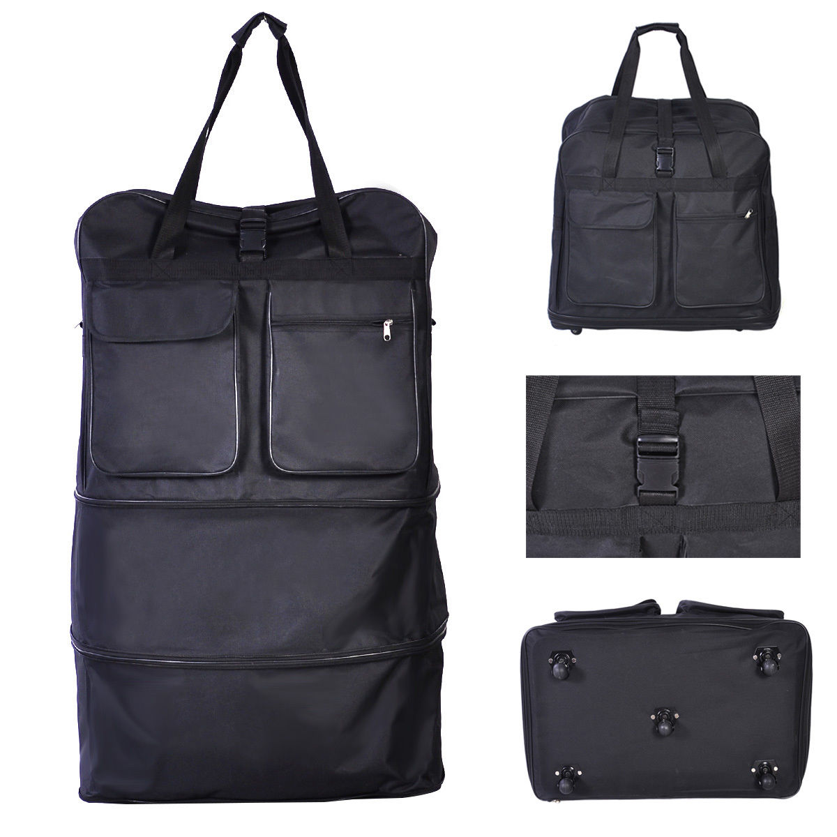 40'' Wheeled Rolling Spinning Suitcase Duffel Bag Travel Luggage Black by Costway