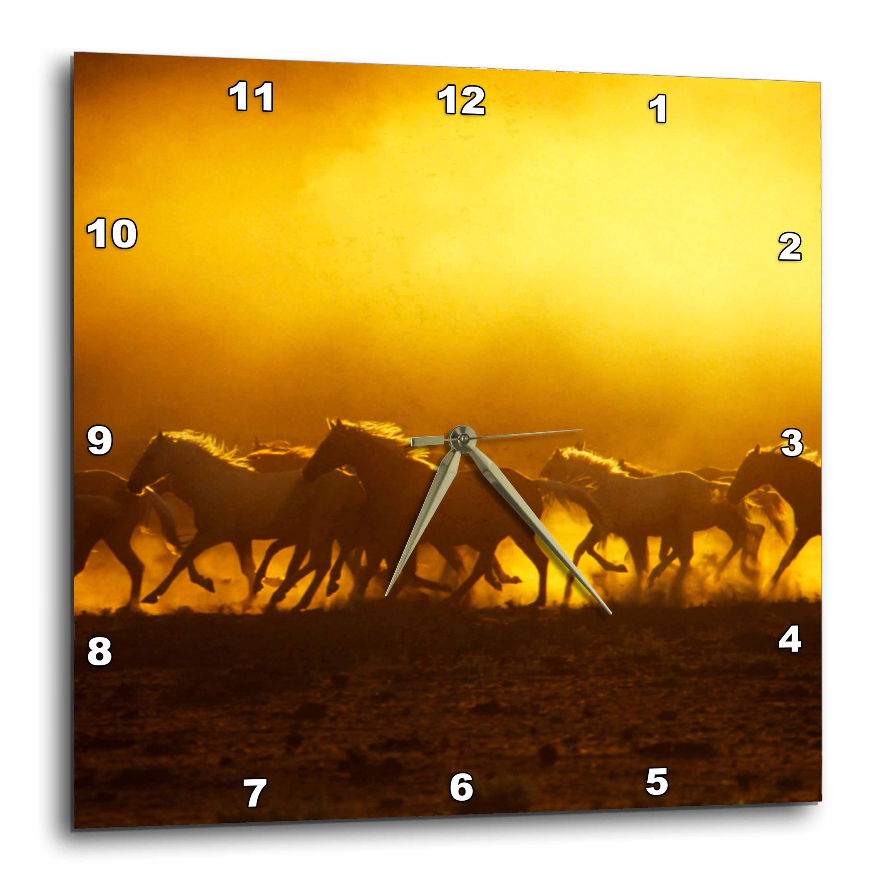 3dRose Oregon, Wild Kiger mustang horse kicking up dust - US38 BJA0029 - Jaynes Gallery, Wall Clock, 15 by 15-inch