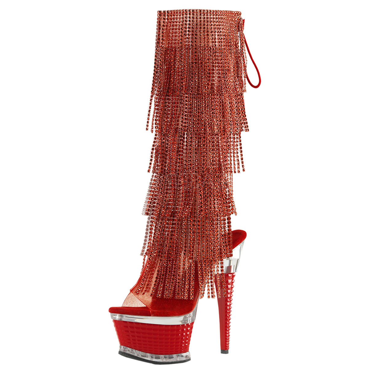 Womens Red Fringe Boots Rhinestone Shoes Knee High Textur...