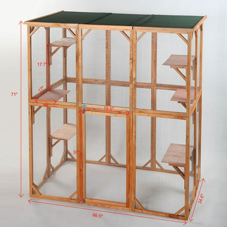 Jaxpety, Large, 2-Story & 6-Platform Cat Enclosure, Outdoor Cat House, 71-in Carnival Cat Enclosure