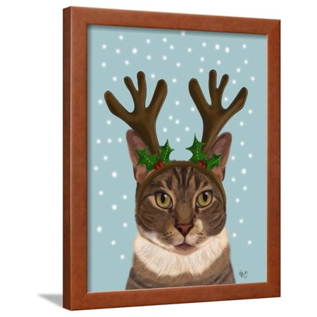 Calico Cat and Antlers Framed Print Wall Art By Fab Funky