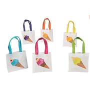 Ice Cream Tote Bags, Party Favor Bags, Assorted Designs (12)