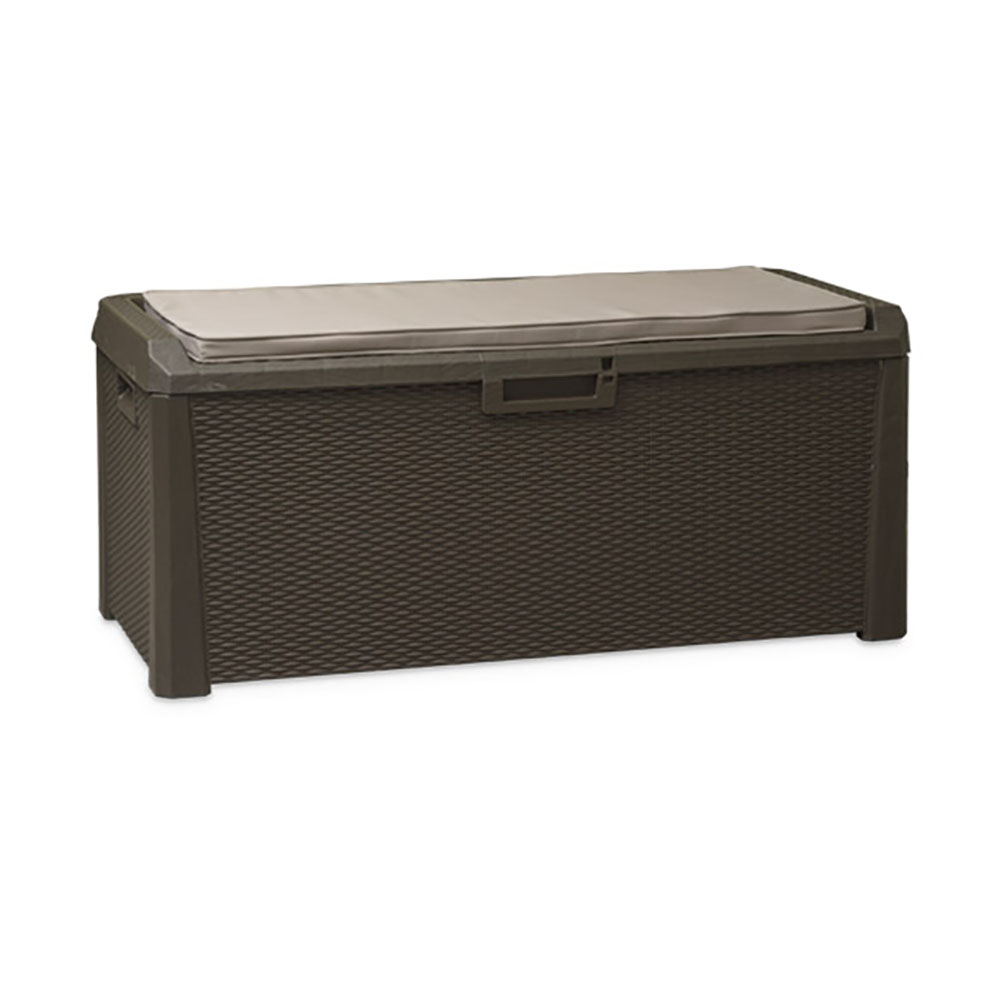 Toomax Santorini Plus 148 Gallon Cushioned Outdoor Patio Storage Deck Box Brown by Toomax