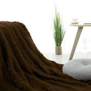 "Warm Shaggy Faux Fur Plush  Twin Size Blanket 59x78"" Coffee Color"