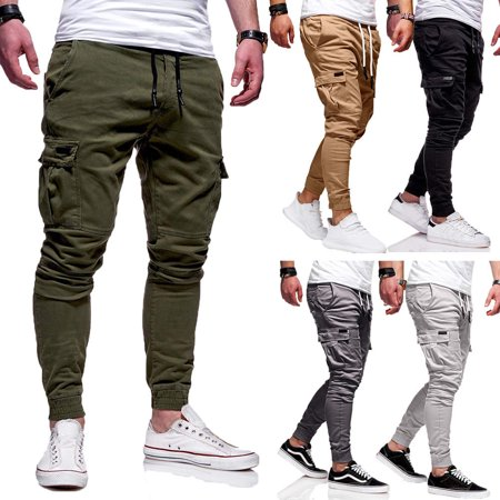Men Gym Slim Fit Pants Combat Camo Work Trousers Long Cargo Military Pant Jogger