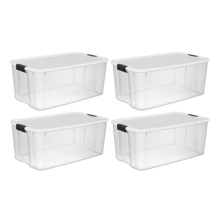 Sterilite Large 116 Qt. Clear Ultra Latch Storage Container Box Tote (4