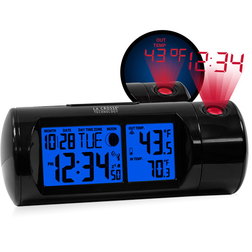 La Crosse Technology Round WWVB LCD Projection Alarm Clock with IN/OUT Temperature, Black