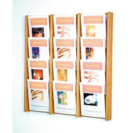 - 12-Pocket Solid Wood Wall Magazine Rack