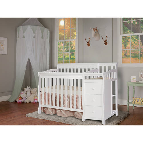 Dream On Me, Jayden, 4-in-1 Mini Portable Convertible Crib With Changer, Cherry