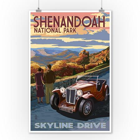 Shenandoah National Park, Virginia - Skyline Drive - Lantern Press Artwork (9x12 Art Print, Wall Decor Travel Poster) Shenandoah National Park Map