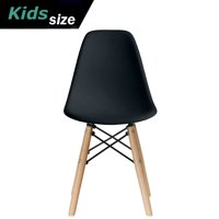 2xhome - Black - Kids Size Plastic Side Chair Black Seat Natural Wood Wooden Legs Eiffel Childrens Room Chairs No Arm Arms Armless Molded Plastic Seat Dowel Leg