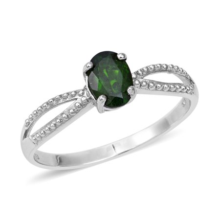 Birthday Jpg (Statement Ring 925 Sterling Silver Platinum Plated Oval Chrome Diopside Gift Jewelry for Women Size 9 Cttw)