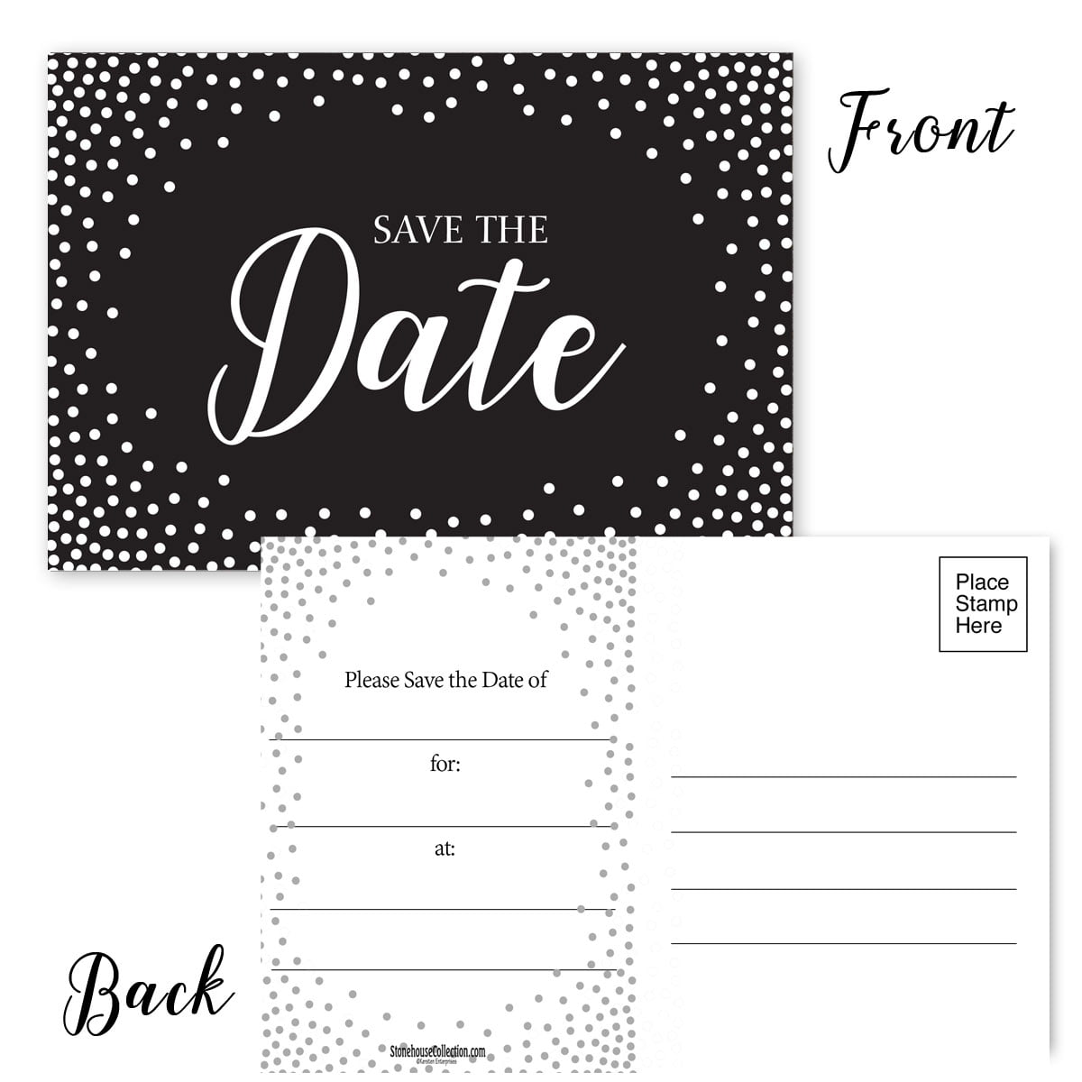 Save The Date Postcards White Dot