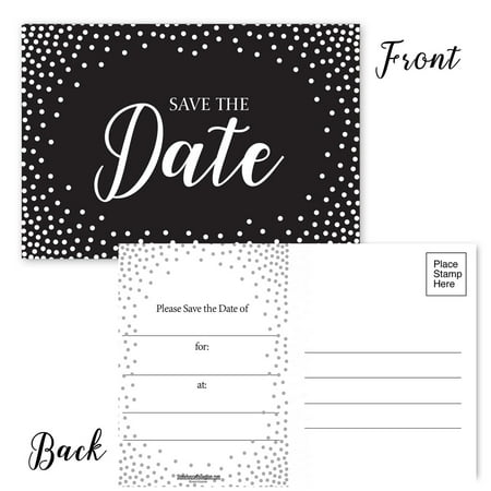 - Save The Date Postcards -White Dot Border- Set of 50 Postcards - 4x6 Inexpensive Postcards