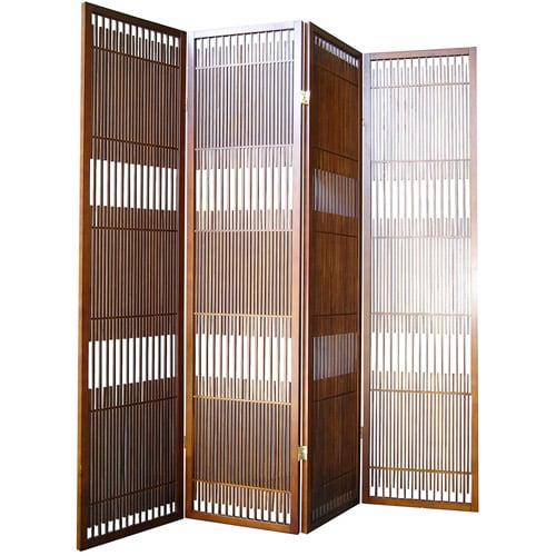 ORE International 4-Panel Wooden Room Divider, Walnut