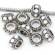 Five (5) Clear Iridescent  Rhinestone Charms Spacer Beads For Snake Chain Charm Bracelet