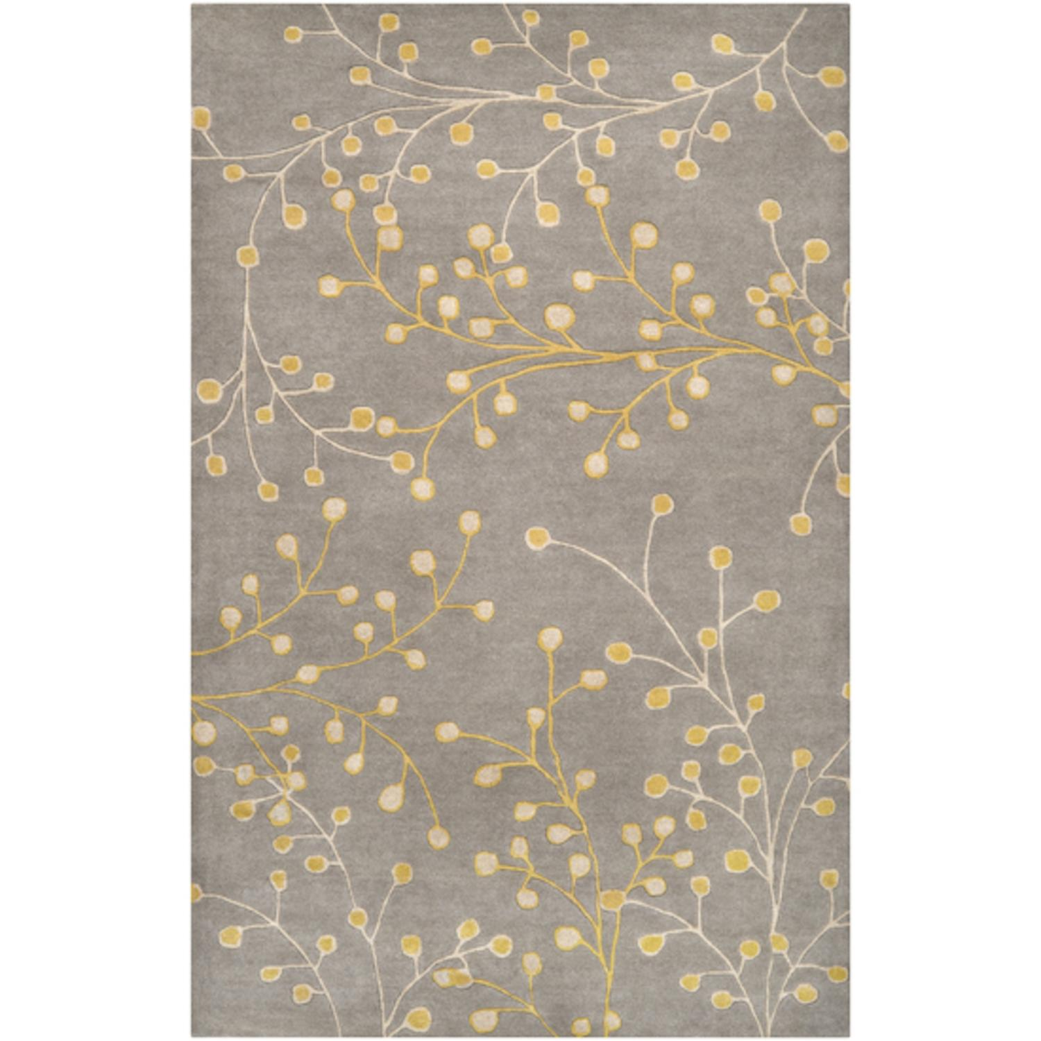 4' x 6' Fair Enoki Mustard Yellow and Brindle Beige Wool Area Throw Rug