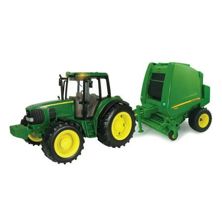 John Deere Big Farm Toy Tractor, 7300 Tractor & Round Baler Set, 1:16 Scale