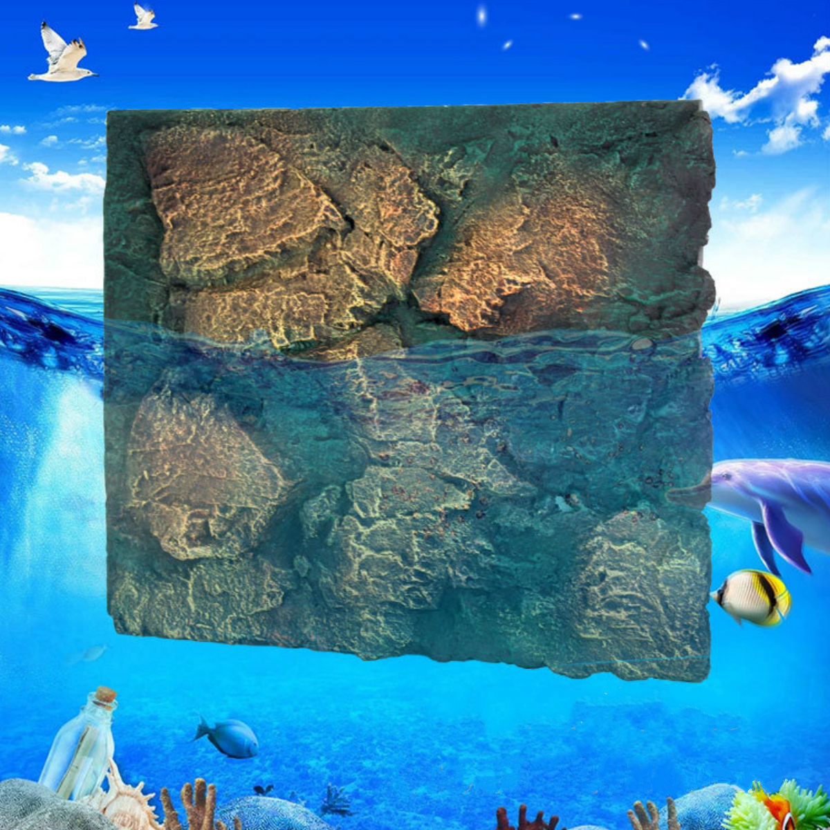 60x50cm 3D PU Rock Stone Aquarium Background Reptile Fish Tank Backdrop Decor by