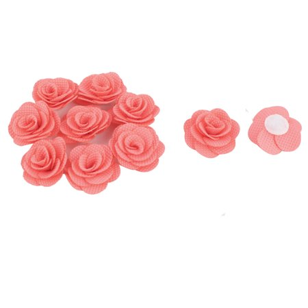 Fabric Camellia Craft Decor DIY Wedding Ornament Ribbon Flowers Coral Pink 10pcs