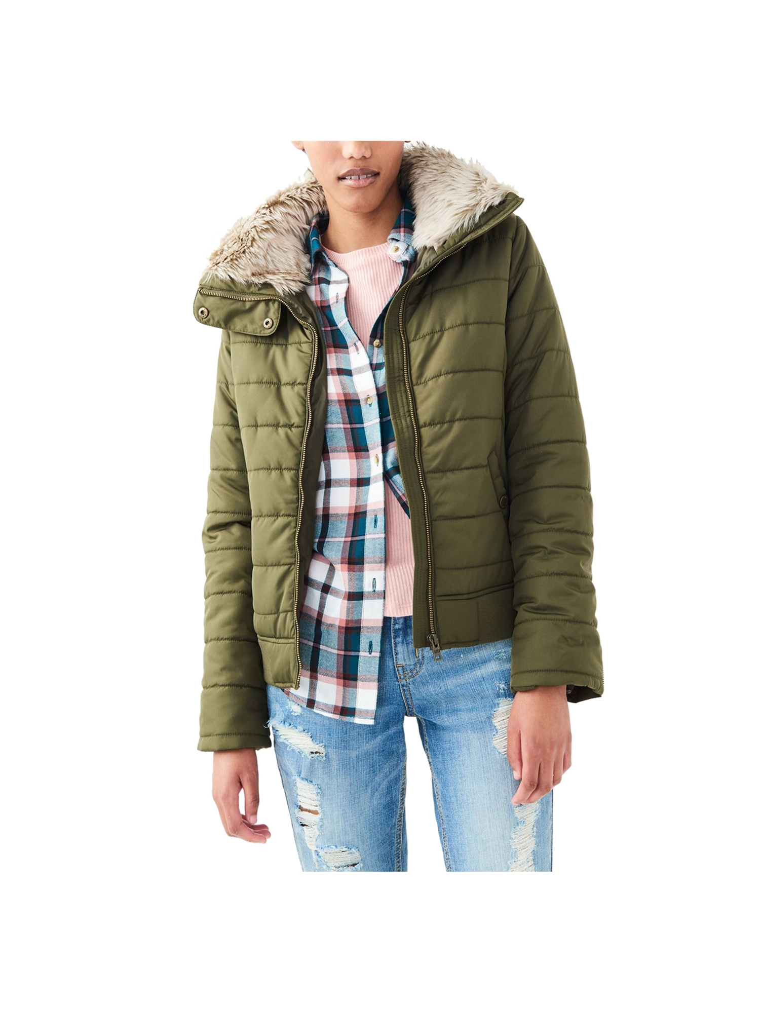 Aeropostale Juniors Full Zip Puffer Jacket