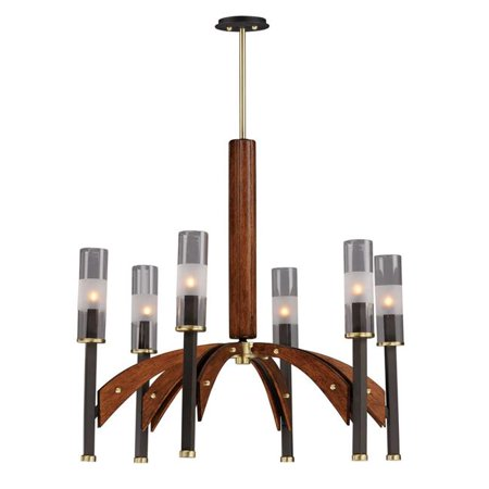 Maxim 39516CLBZAP Merge 6-Light Chandelier Ceiling Light, Bronze & Antique Pecan - image 1 de 1