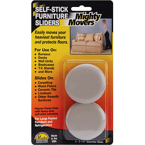"Master Manufacturing Mighty Movers Self-Stick Furniture Sliders-2.25"" Round 4/Pkg"