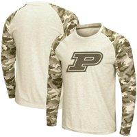 Purdue Boilermakers Colosseum OHT Military Appreciation Desert Camo Raglan Long Sleeve T-Shirt - Oatmeal